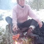 Kampvuurtje in de sneeuw